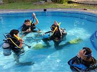 Grundübungen der Kinder im Pool des Mapia Resort Manado