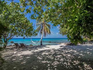 Strand der Coconut Lodge auf Rangiroa