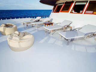 Sonnendeck der Eco Blue – Malediven Safariboot