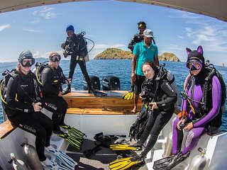 Bootstauchgang an der Küste Sumbawas