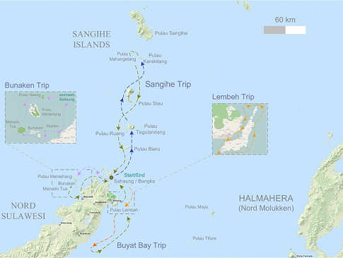 Tauchsafari Map Nord Sulawesi & Sangihe