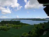 Blick vom Rose Garden Resort Richtung Koror