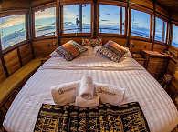 Master-Kabine auf dem Safariboot Samambaia